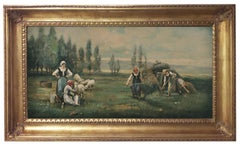 COUNTRY LANDSCAPE -French School - Italian Oil on Canvas Painting