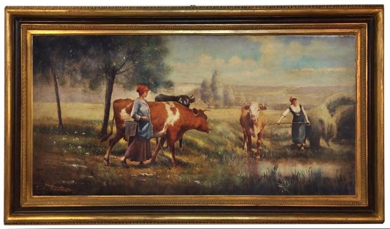 COUNTRY LANDSCAPE - Italian oil on canvas painting, Emilio Pergola - Brown Landscape Painting by Emilio Pergola