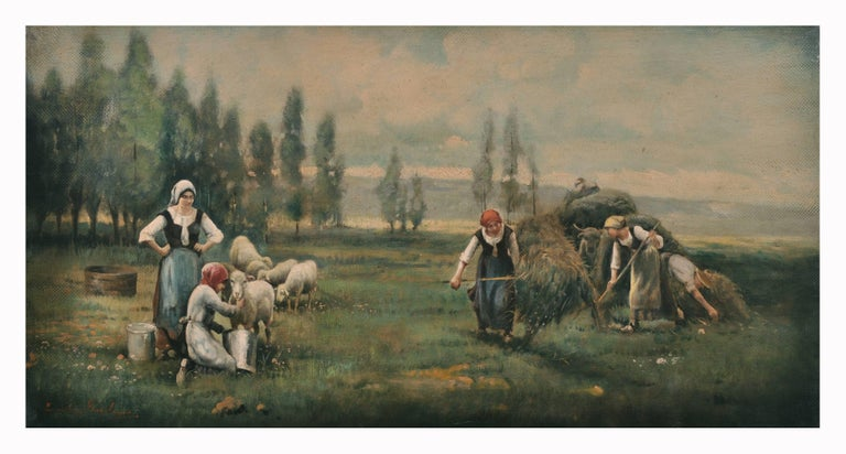 COUNTRY LANDSCAPE - Italian oil on canvas painting, Emilio Pergola - Old Masters Painting by Emilio Pergola