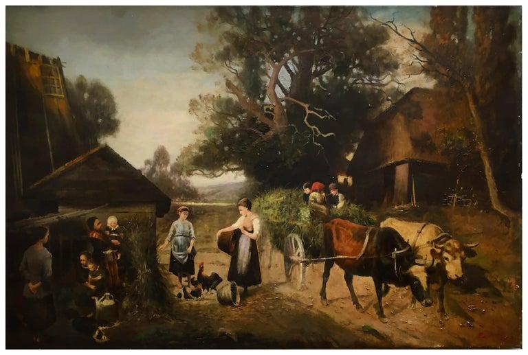 COUNTRY LANDSCAPE - Italian oil on canvas painting, Emilio Pergola - Old Masters Painting by Emilio Pergola