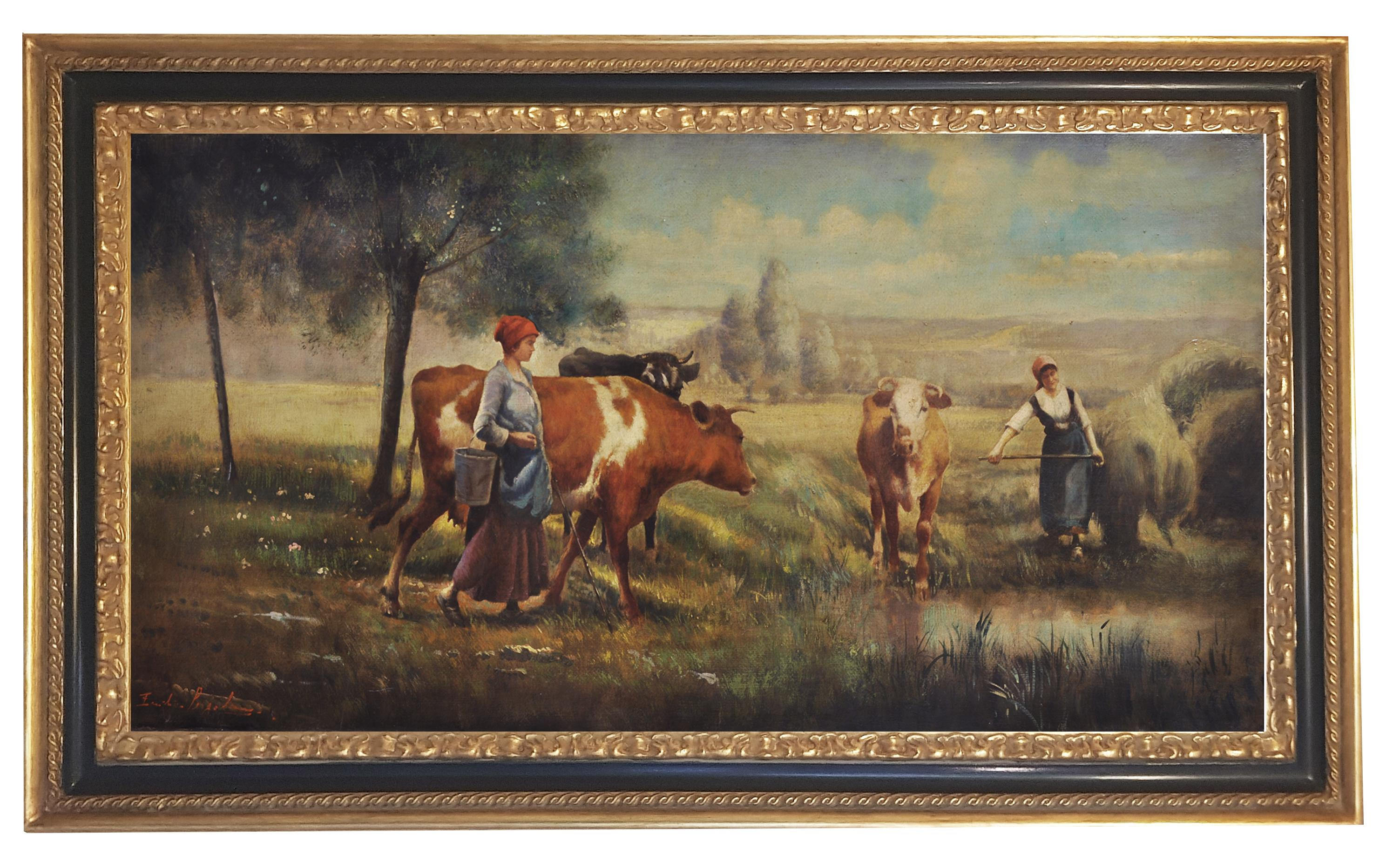 COUNTRY LANDSCAPE - French School -Italian Oil on Canvas Painting