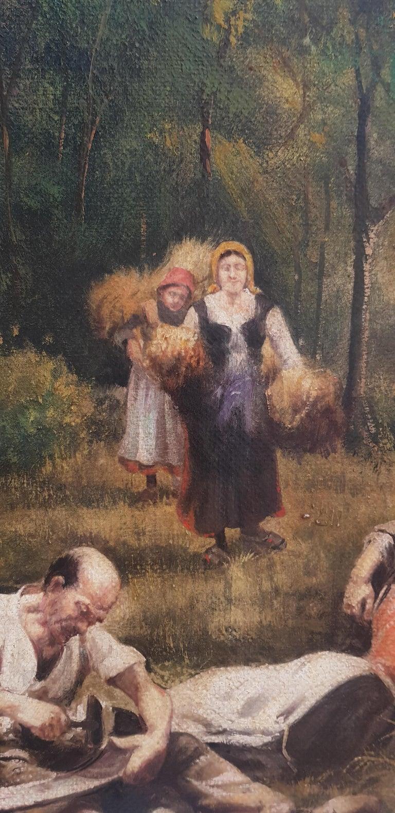 Country Scene - Emilio Pergola Italian Oil on Canvas Painting For Sale 1
