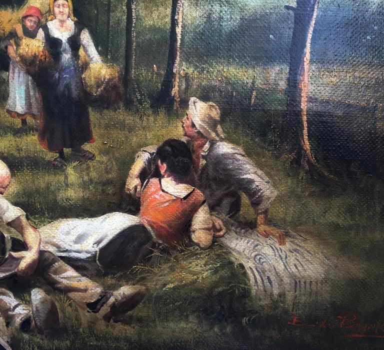 Country Scene - Emilio Pergola Italian Oil on Canvas Painting For Sale 3