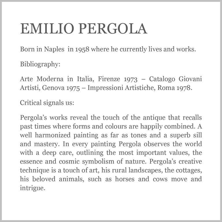 Country Scene - Emilio Pergola Italian Oil on Canvas Painting For Sale 6
