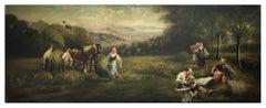 Country Scene - Emilio Pergola Italian Oil on Canvas Painting