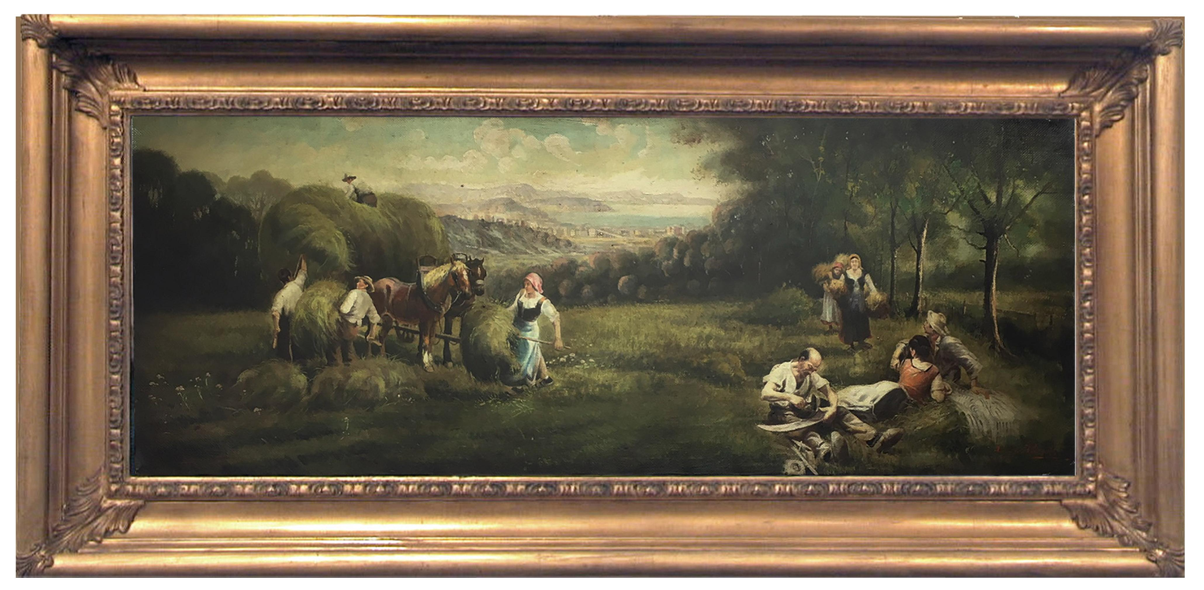 COUNTRY SCENE- French School - Italian Oil on Canvas Painting