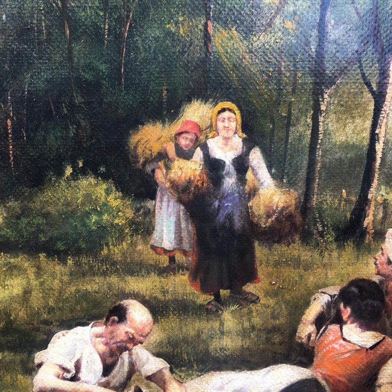 COUNTRY SCENE- French School - Italian Oil on Canvas Painting For Sale 3