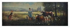 COUNTRY SCENE - Italian oil on canvas painting, Emilio Pergola