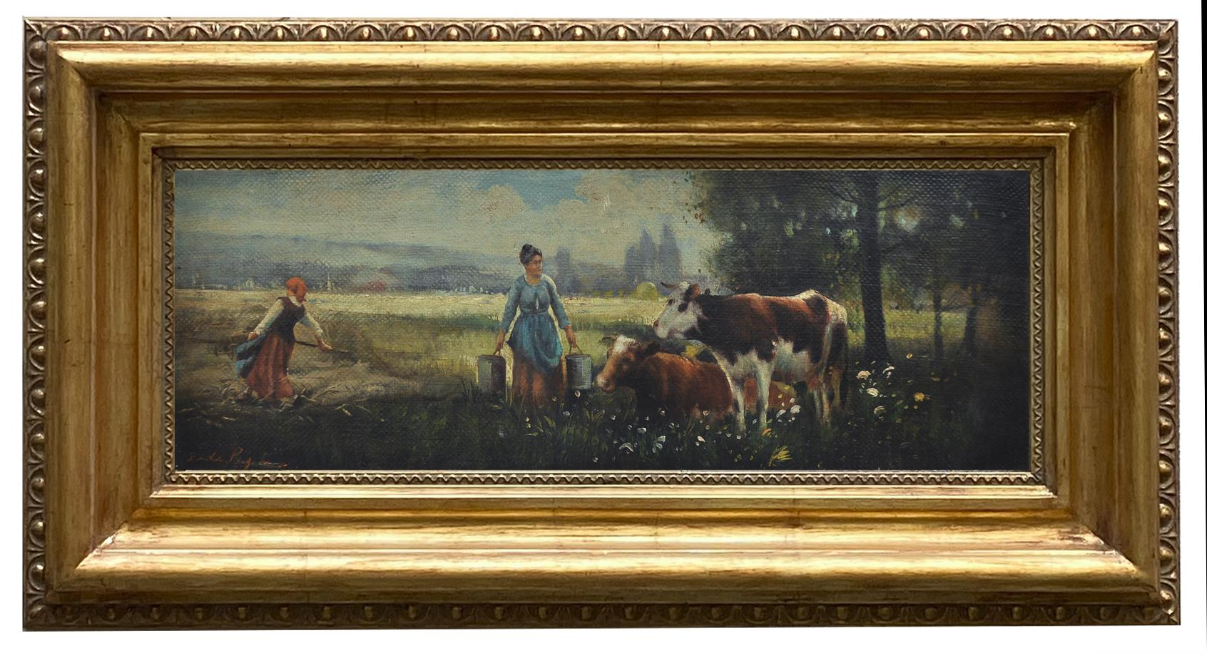 COUNTRY SCENE - French School - Italian -  Figurative - Oil on canvas painting