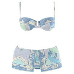 EMILIO PUCCI 1960's Multicolor Nordic Motif Signature Print 2 Pc Bikini Swimsuit