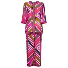 Emilio Pucci 1970s Geometric Print Silk Trouser Set