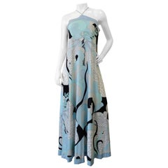 Emilio Pucci 1970s Goddess Motif Silk Halter Dress