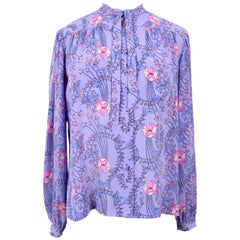 EMILIO PUCCI 1970s Signature Lilac Floral Print Bow Tie Silk Blouse & Scarf Set