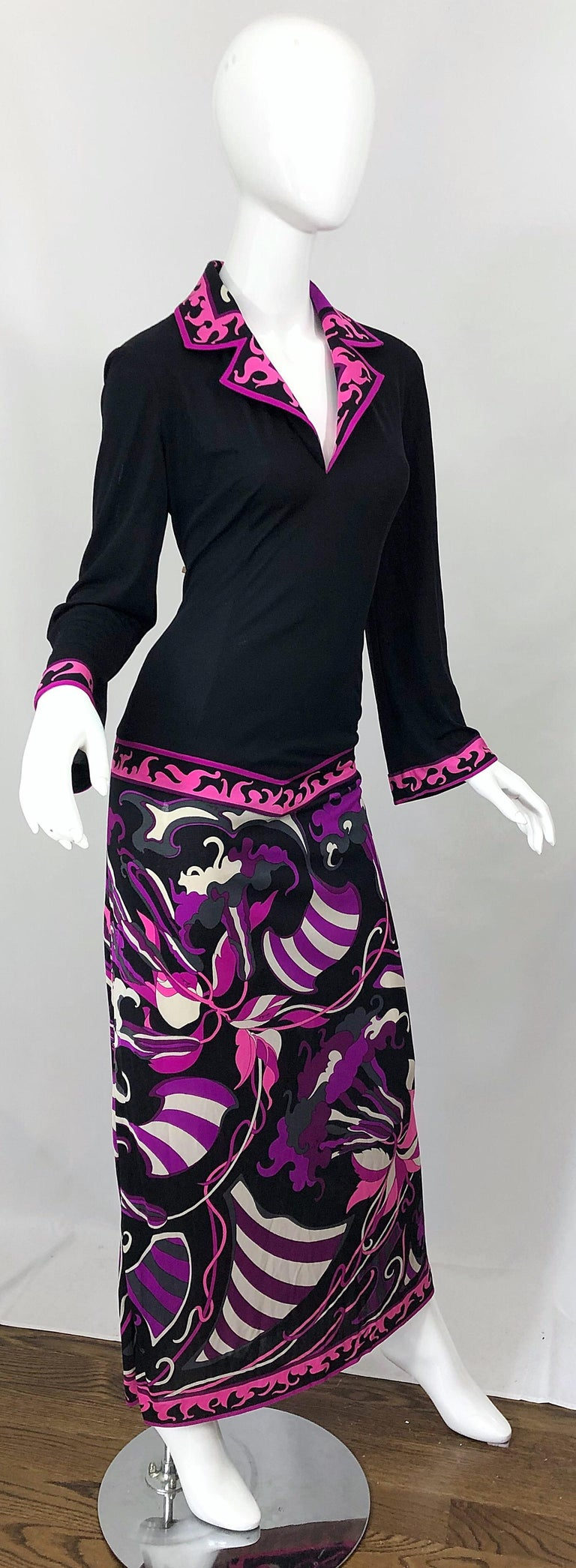 Emilio Pucci 1970s Silk Jersey Pink Purple Black Vintage 70s Maxi Dress For Sale 7