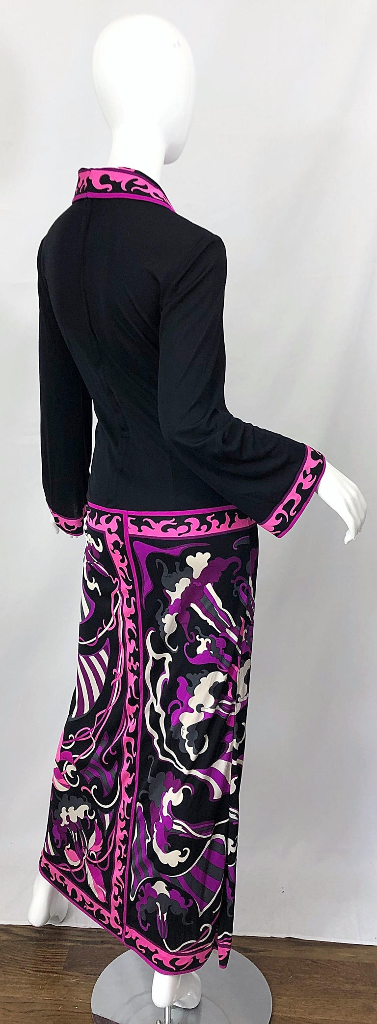 Emilio Pucci 1970s Silk Jersey Pink Purple Black Vintage 70s Maxi Dress For Sale 8
