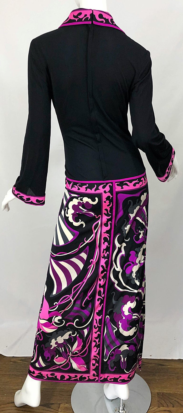 Emilio Pucci 1970s Silk Jersey Pink Purple Black Vintage 70s Maxi Dress For Sale 9