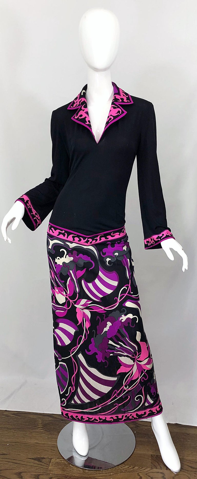 Emilio Pucci 1970s Silk Jersey Pink Purple Black Vintage 70s Maxi Dress For Sale 10