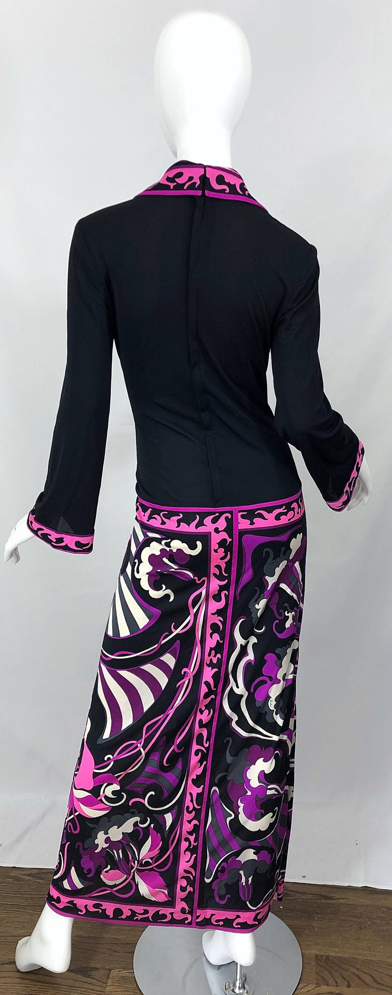 Emilio Pucci 1970s Silk Jersey Pink Purple Black Vintage 70s Maxi Dress In Excellent Condition For Sale In Chicago, IL