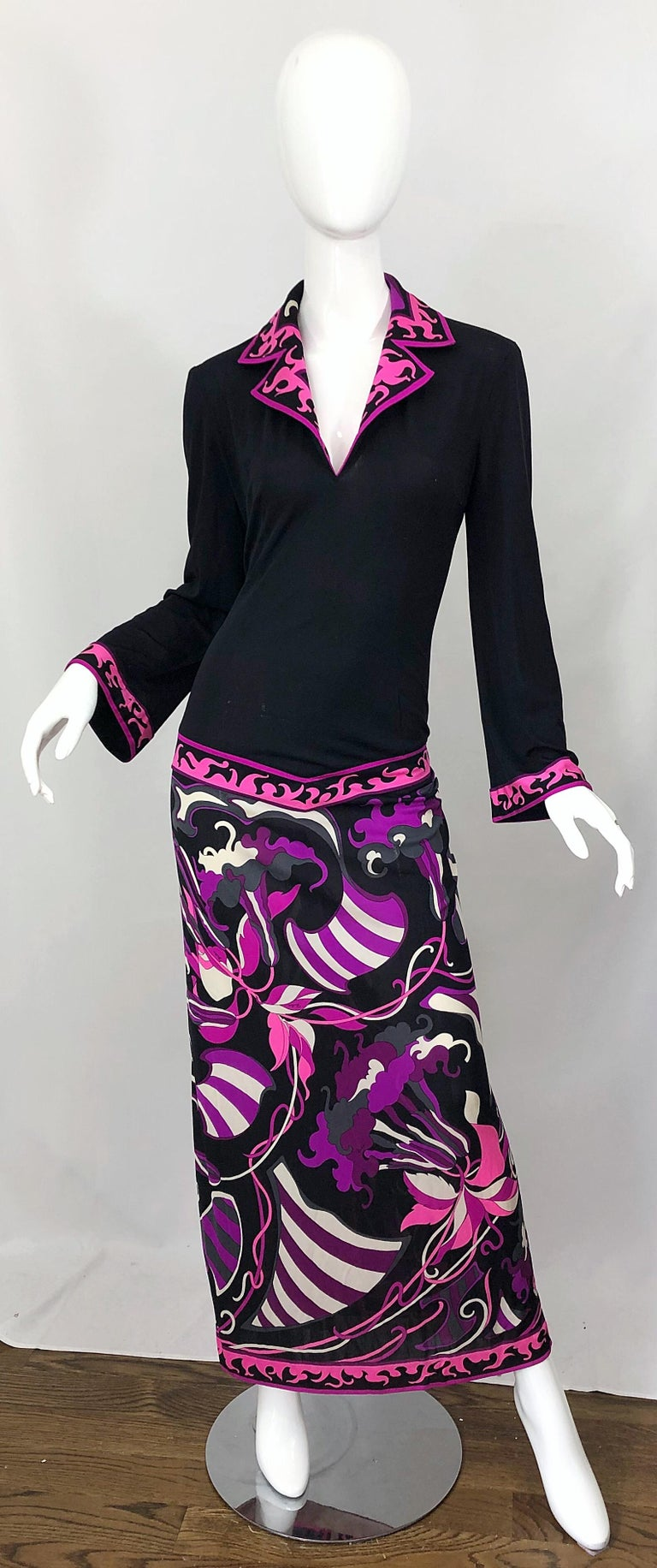Emilio Pucci 1970s Silk Jersey Pink Purple Black Vintage 70s Maxi Dress For Sale 1