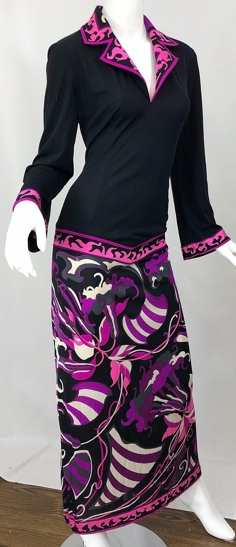 Emilio Pucci 1970s Silk Jersey Pink Purple Black Vintage 70s Maxi Dress For Sale 2