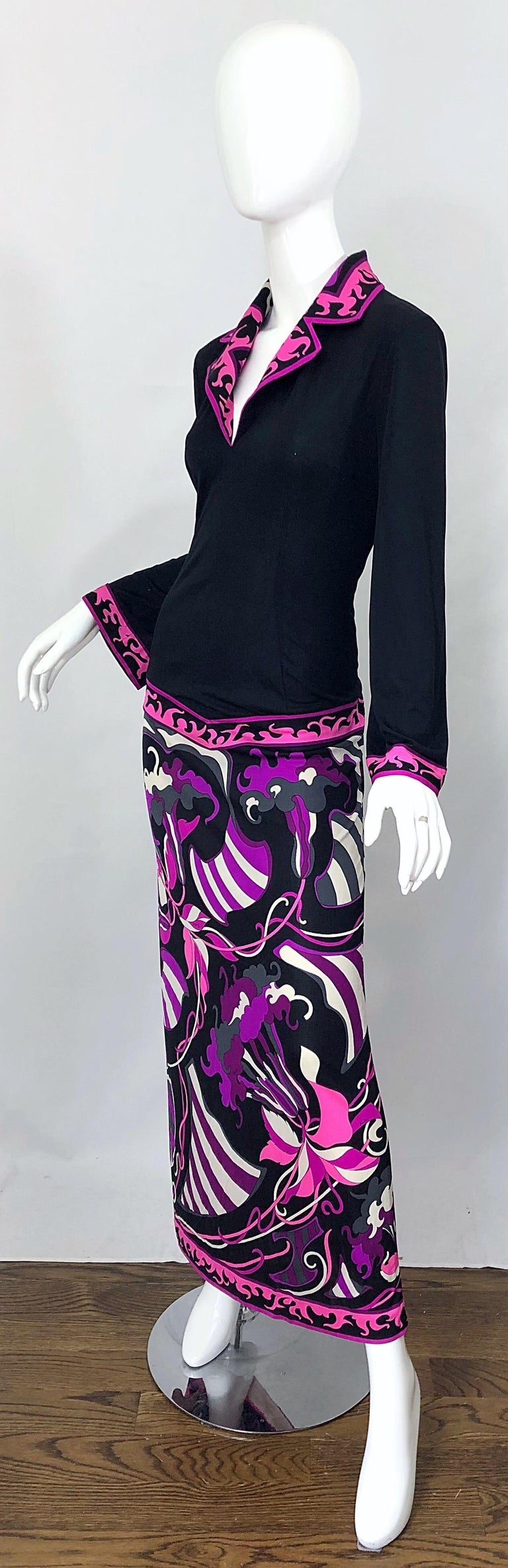 Emilio Pucci 1970s Silk Jersey Pink Purple Black Vintage 70s Maxi Dress For Sale 3