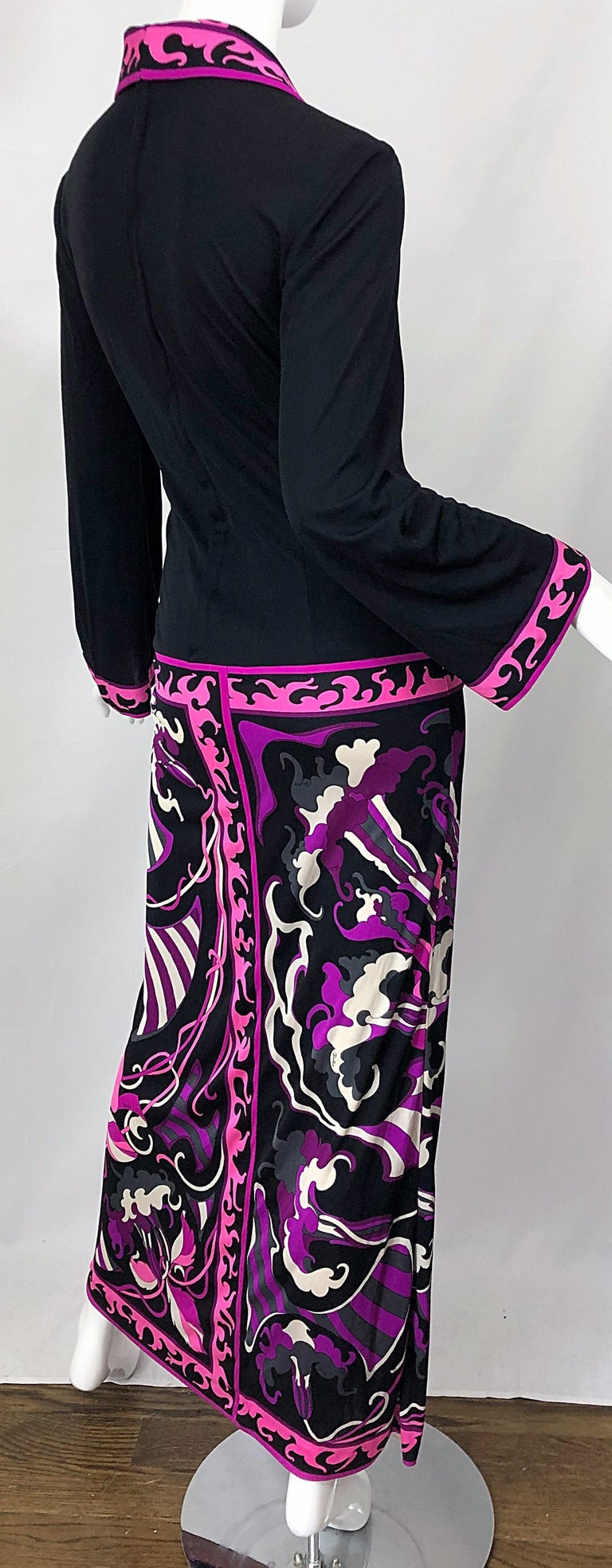 Emilio Pucci 1970s Silk Jersey Pink Purple Black Vintage 70s Maxi Dress For Sale 4