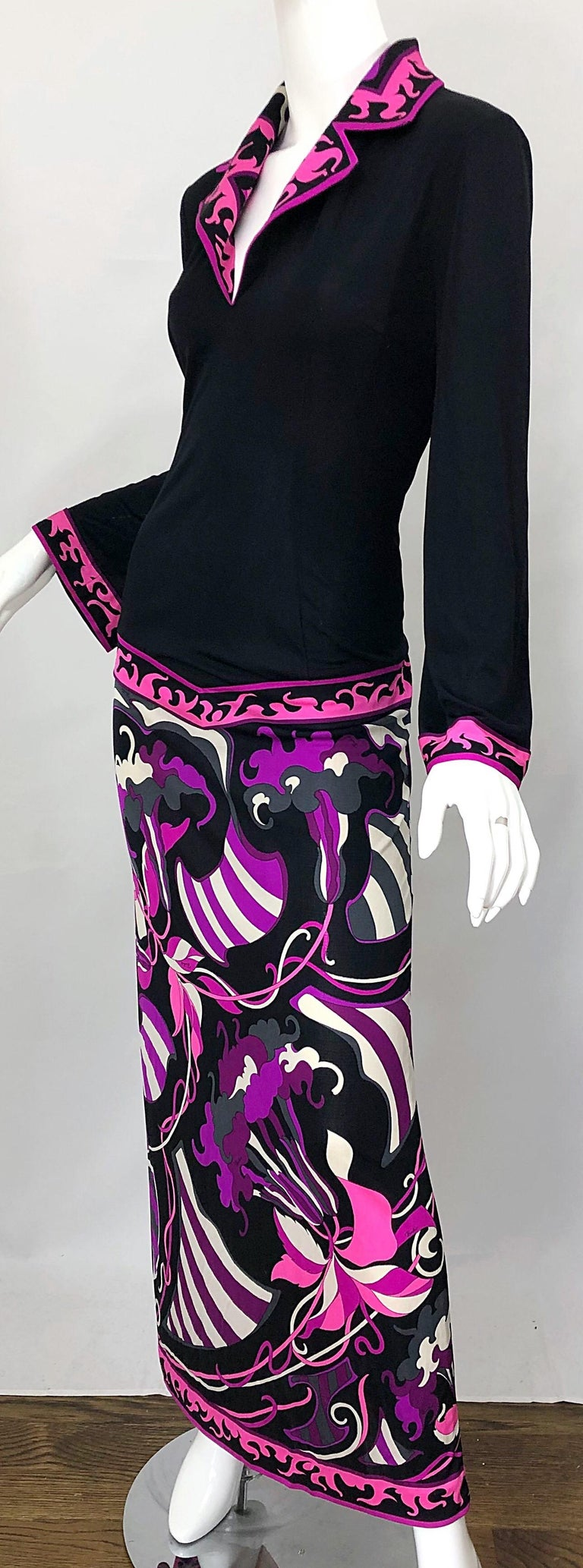 Emilio Pucci 1970s Silk Jersey Pink Purple Black Vintage 70s Maxi Dress For Sale 5