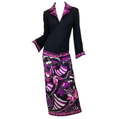 Emilio Pucci 1970s Silk Jersey Pink Purple Black Vintage 70s Maxi Dress