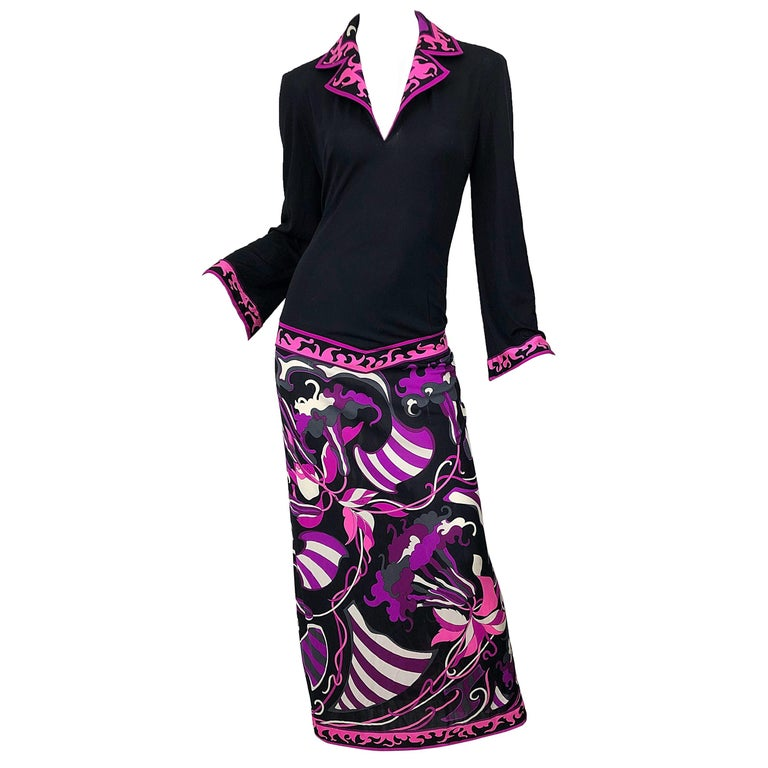 Emilio Pucci 1970s Silk Jersey Pink Purple Black Vintage 70s Maxi Dress For Sale