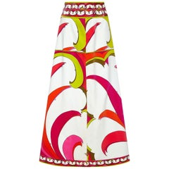 Emilio Pucci 1970s Velvet A-Line Skirt With Tropical Print