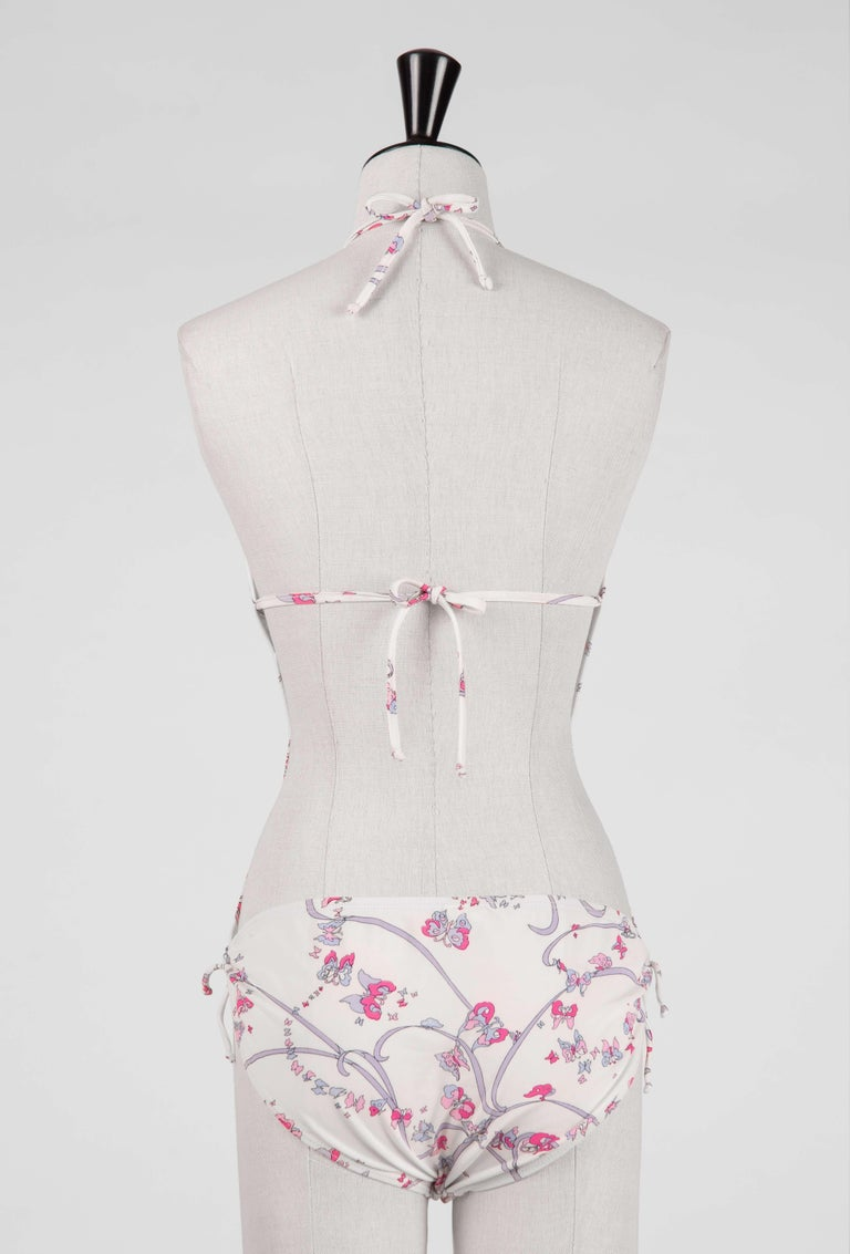 Gray EMILIO PUCCI 1970s White Pink Signature Butterfly Print One-Piece Swimsuit For Sale