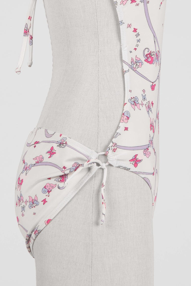 EMILIO PUCCI 1970s White Pink Signature Butterfly Print One-Piece Swimsuit For Sale 1