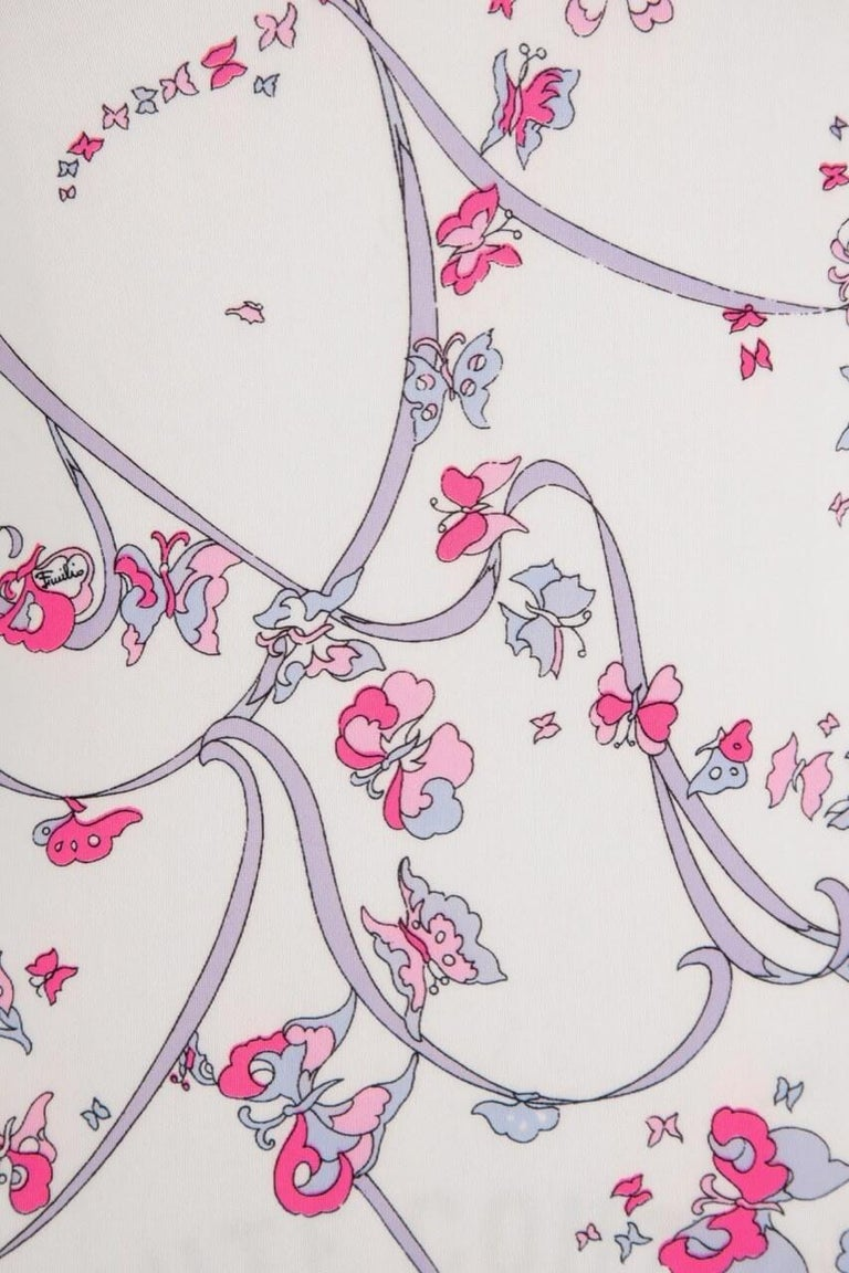 EMILIO PUCCI 1970s White Pink Signature Butterfly Print One-Piece Swimsuit For Sale 2