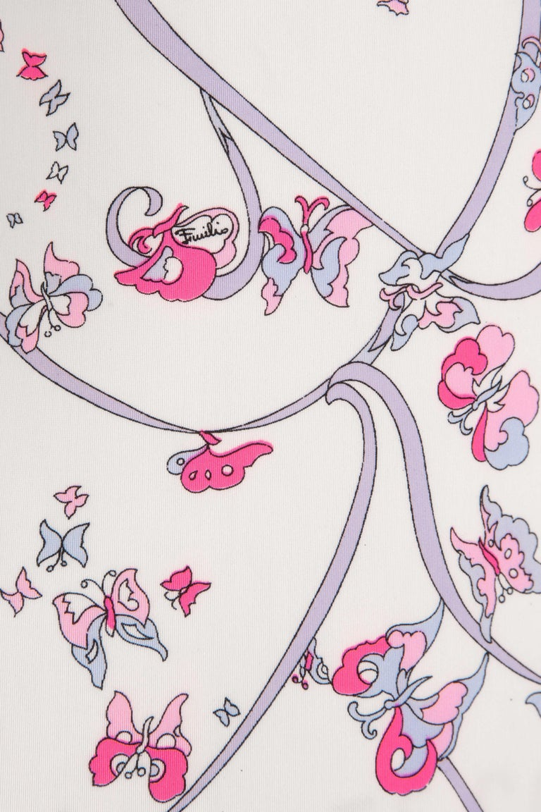 EMILIO PUCCI 1970s White Pink Signature Butterfly Print One-Piece Swimsuit For Sale 3