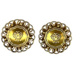Emilio Pucci 1980s Large Button Earrings