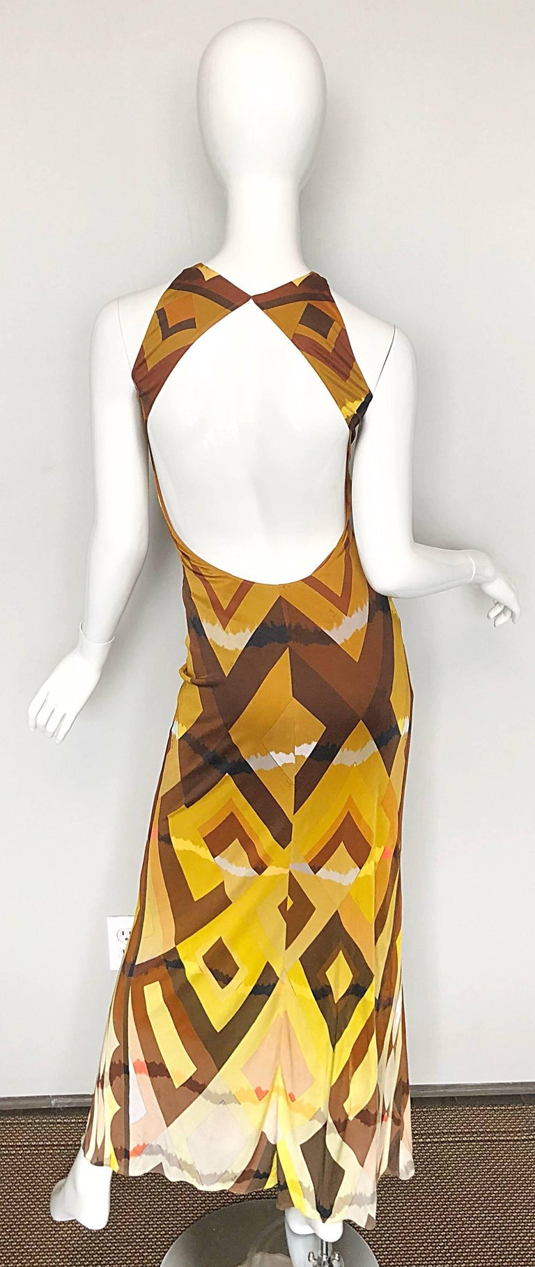 Orange Emilio Pucci 1990s Sexy Vintage Open Back Rayon Jersey 90s Gown Maxi Dress For Sale