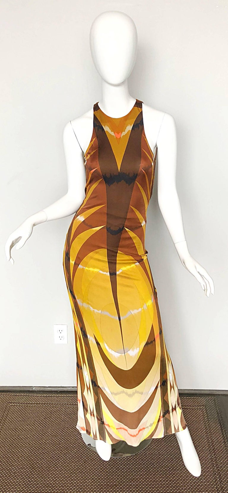 Emilio Pucci 1990s Sexy Vintage Open Back Rayon Jersey 90s Gown Maxi Dress In Excellent Condition For Sale In Chicago, IL