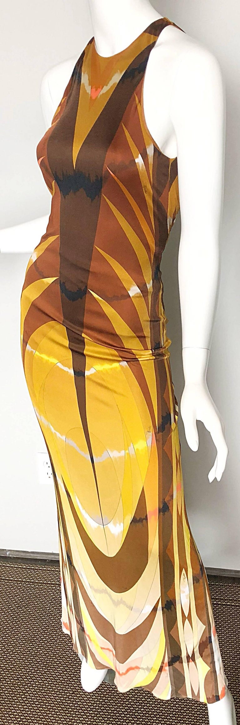 Women's Emilio Pucci 1990s Sexy Vintage Open Back Rayon Jersey 90s Gown Maxi Dress For Sale