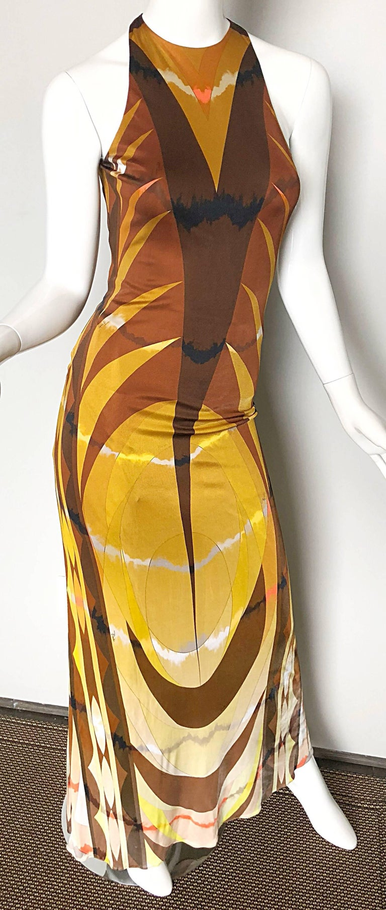 Emilio Pucci 1990s Sexy Vintage Open Back Rayon Jersey 90s Gown Maxi Dress For Sale 1