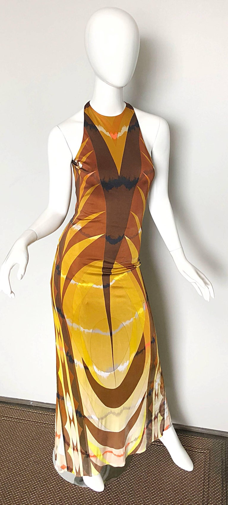 Emilio Pucci 1990s Sexy Vintage Open Back Rayon Jersey 90s Gown Maxi Dress For Sale 3