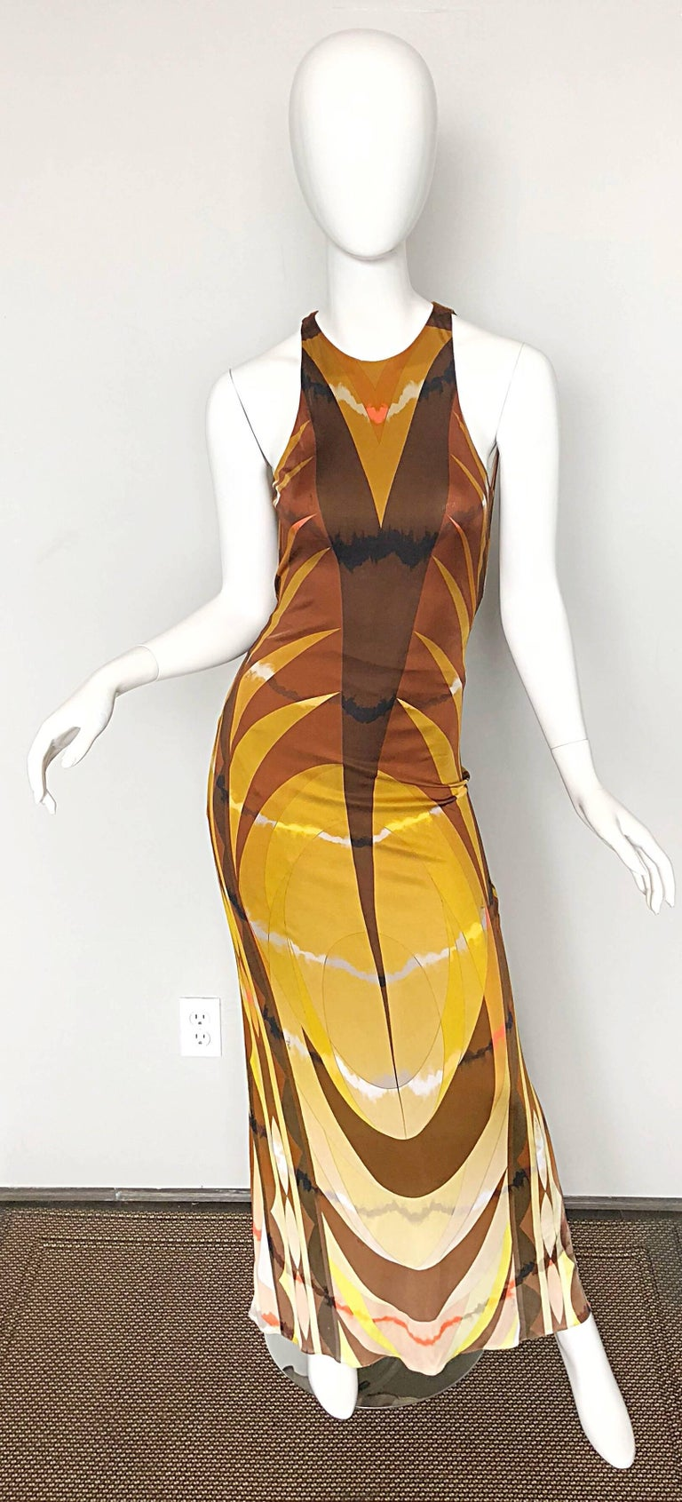Emilio Pucci 1990s Sexy Vintage Open Back Rayon Jersey 90s Gown Maxi Dress For Sale 4