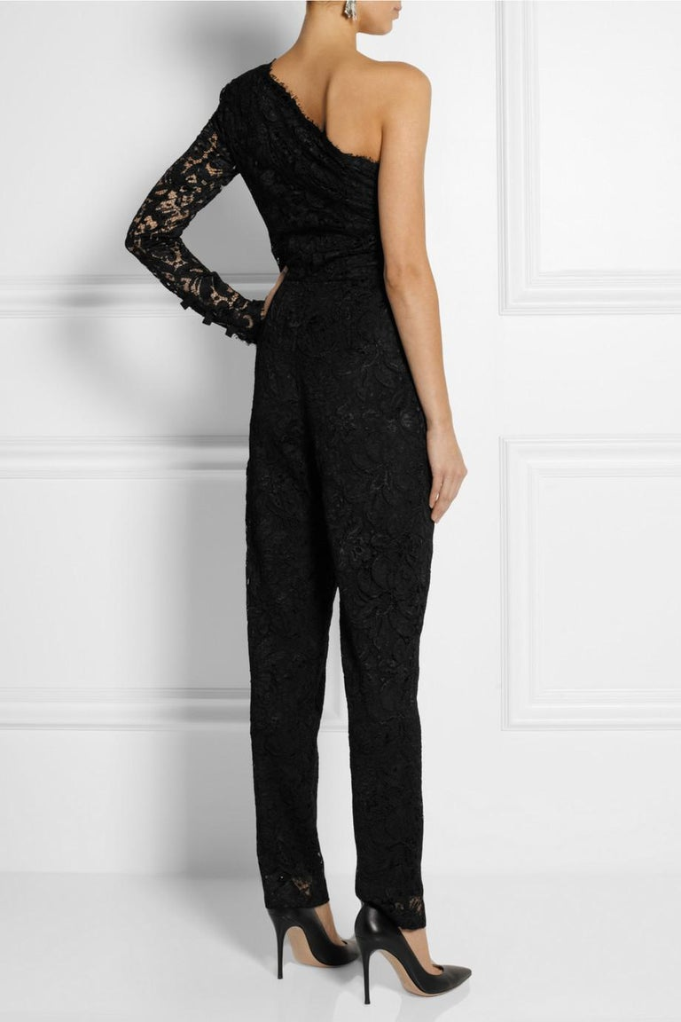 Emilio Pucci Asymmetric Black Lace Evening Jumpsuit Overall In Excellent Condition For Sale In Switzerland, CH