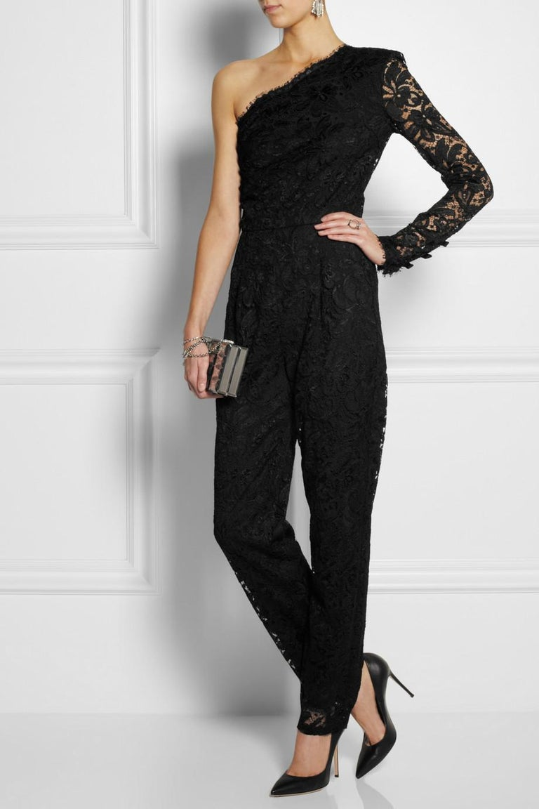 Women's Emilio Pucci Asymmetric Black Lace Evening Jumpsuit Overall For Sale