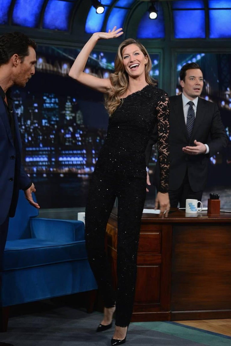 Emilio Pucci Asymmetric Black Lace Evening Jumpsuit Overall For Sale 3
