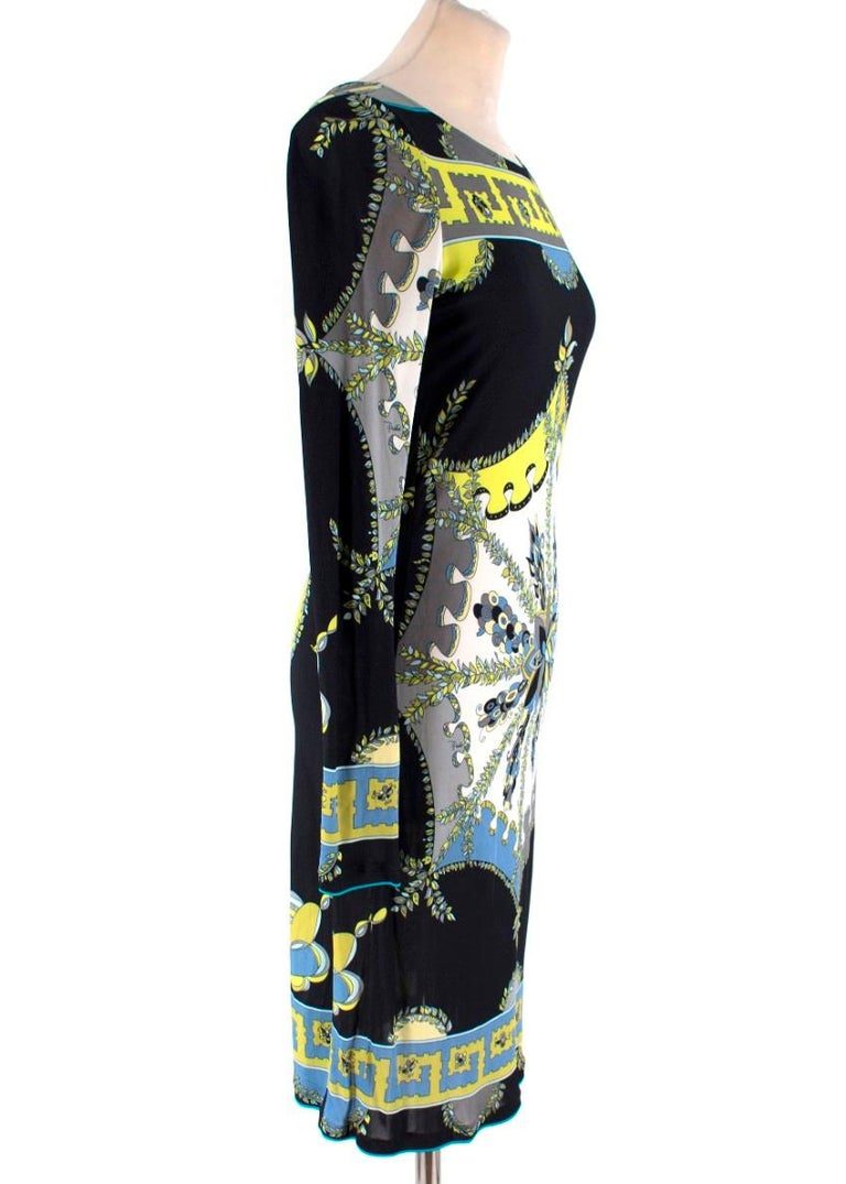 Emilio Pucci Black Abstract Pattern Dress  -Black dress with neon yellow, white and blue pattern -Floral details on the dress -Back cut out with hold tone logo clasp -Knee length fitted dress  Please note, these items are pre-owned and may show