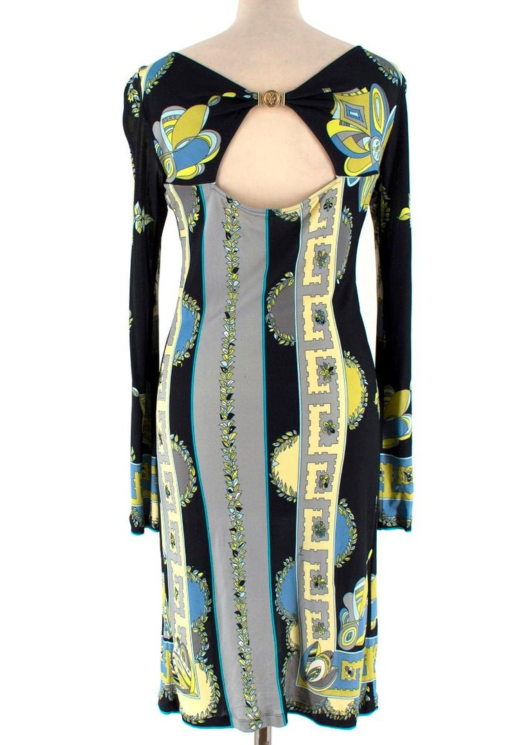 Emilio Pucci Black Abstract Pattern Dress US 6 In Good Condition For Sale In London, GB