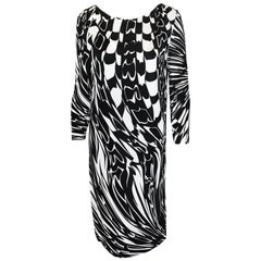 Emilio Pucci Black and White Abstract Print Shift Dress