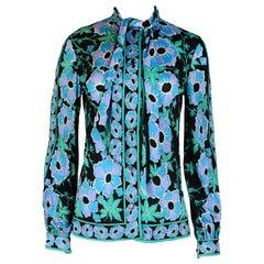 Emilio Pucci Black/Blue Long Sleeve Floral Print Blouse Secretary Neck Tie Sz M