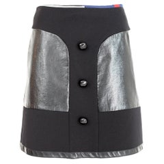 Emilio Pucci Black Cotton Wool Short Skirt 2000s Faux Leather Insert
