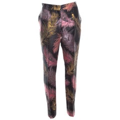 Emilio Pucci Black Feather Patterned Jacquard Pants M